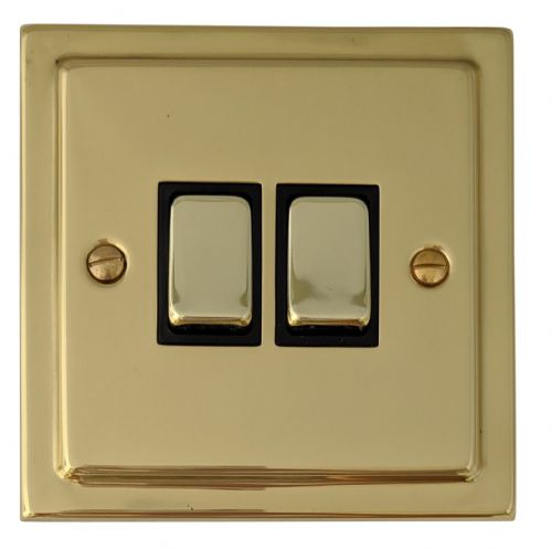 G&H TB302 Trimline Plate Polished Brass 2 Gang 1 or 2 Way Rocker Light Switch